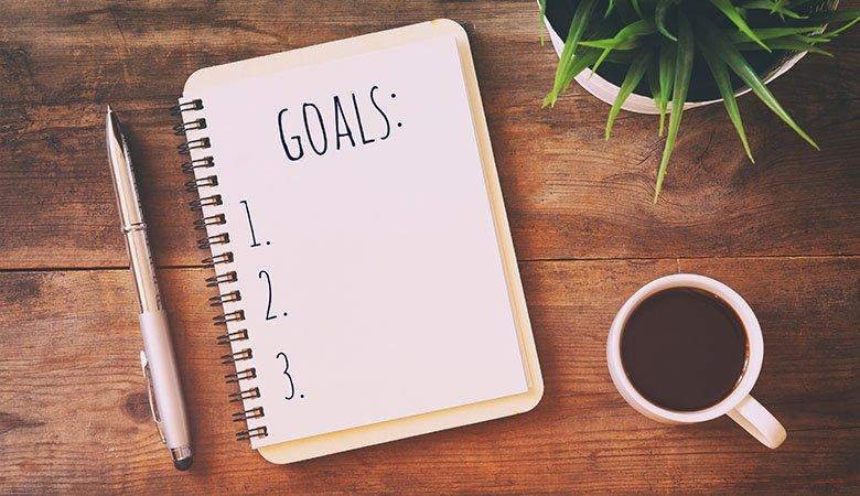 Skrivebok for å skrive ned målene i